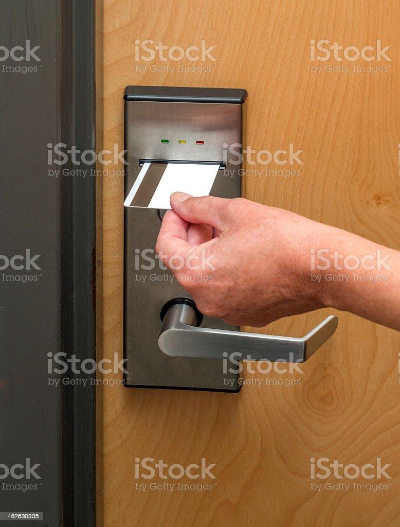 Hotel door lock stock photo
