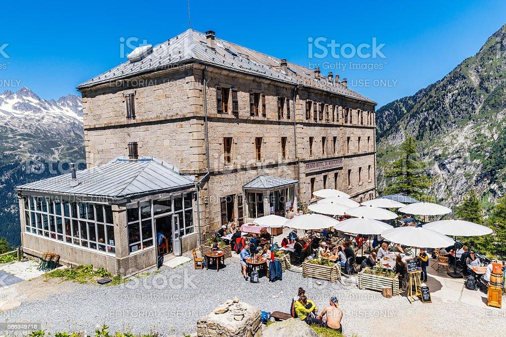Hotel du Montenvers, Mont Blanc Massif stock photo