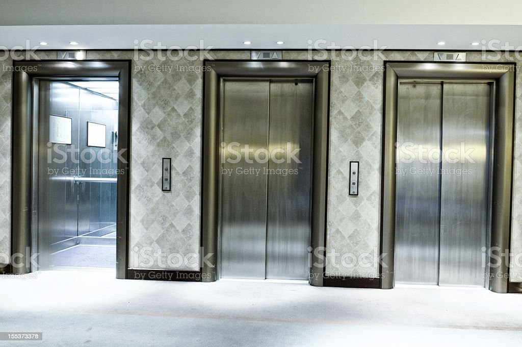 Hotel Elevators royalty-free stock photo
