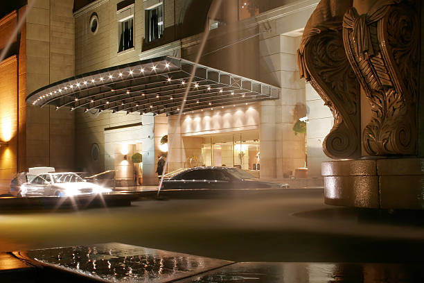 Hotel Entrance at Night stock photo