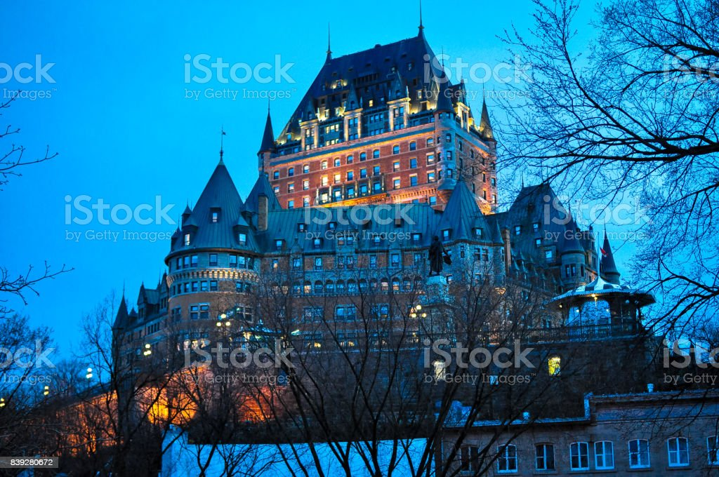 Hotel Fairmont Le Chateau Frontenac in Old Quebec stock photo