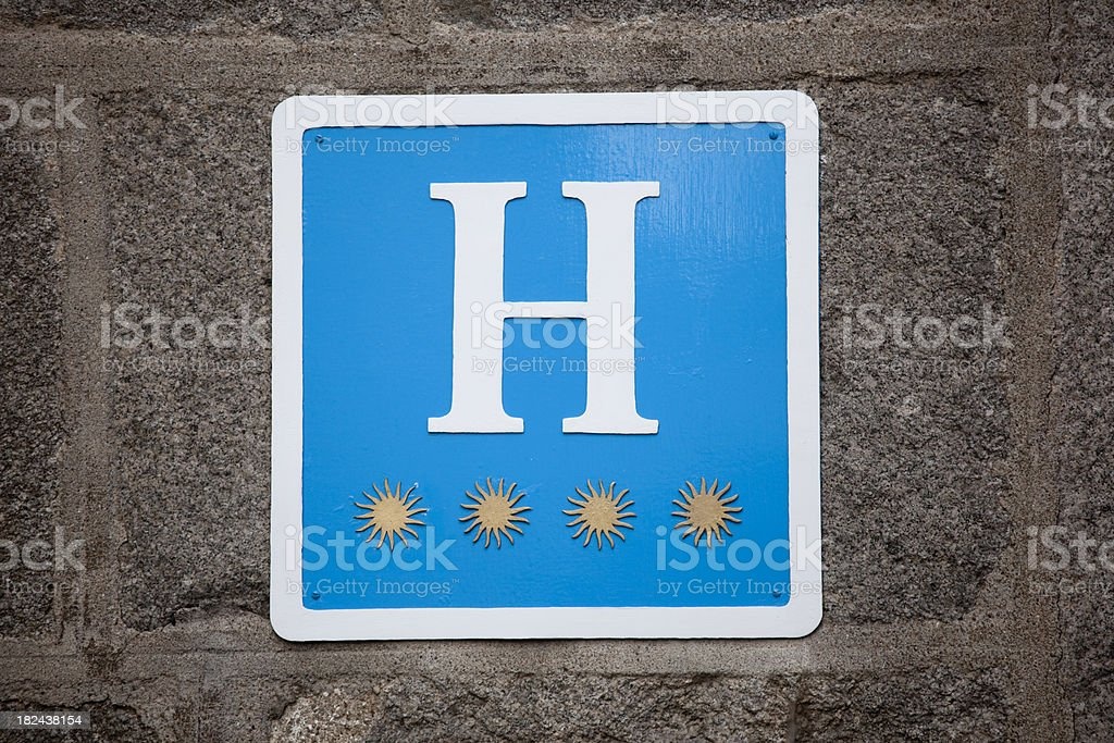 Hotel Four Star Indication Sign, Spain royalty-free stock photo