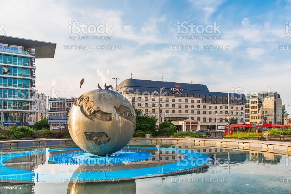 Hotel from Bratislava with the Monument Worldglobe in Bratislava - official residence of the Slovak President. - Royalty-free Architecture Stock Photo
