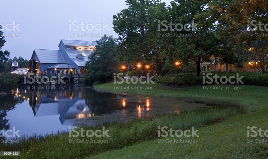 Hotel gardens in the evening stock photo