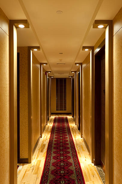 hotel hallway corridor - carpet runner stock photos and pictures