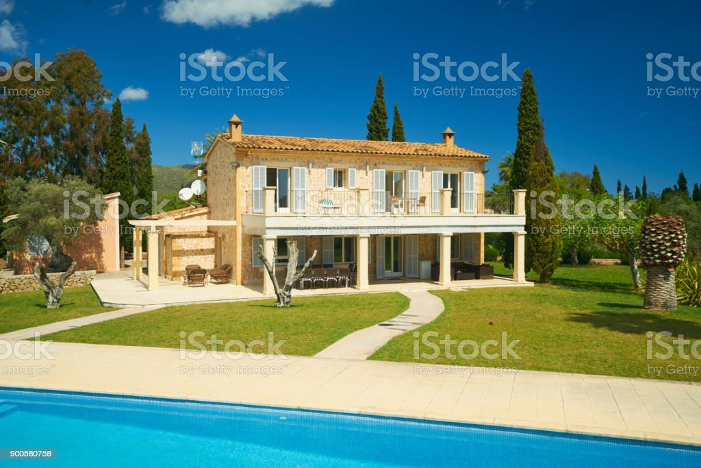 hotel - holiday house with garden and pool stock photo