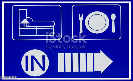 istock Hotel icons set in old blue background 500494232