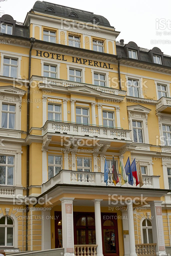 Hotel Imperial facade in Frantiskovy Lazne stock photo