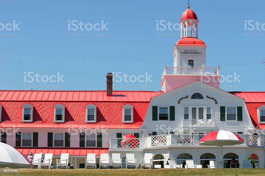 Hotel in Canadian Tadoussac Village stock photo