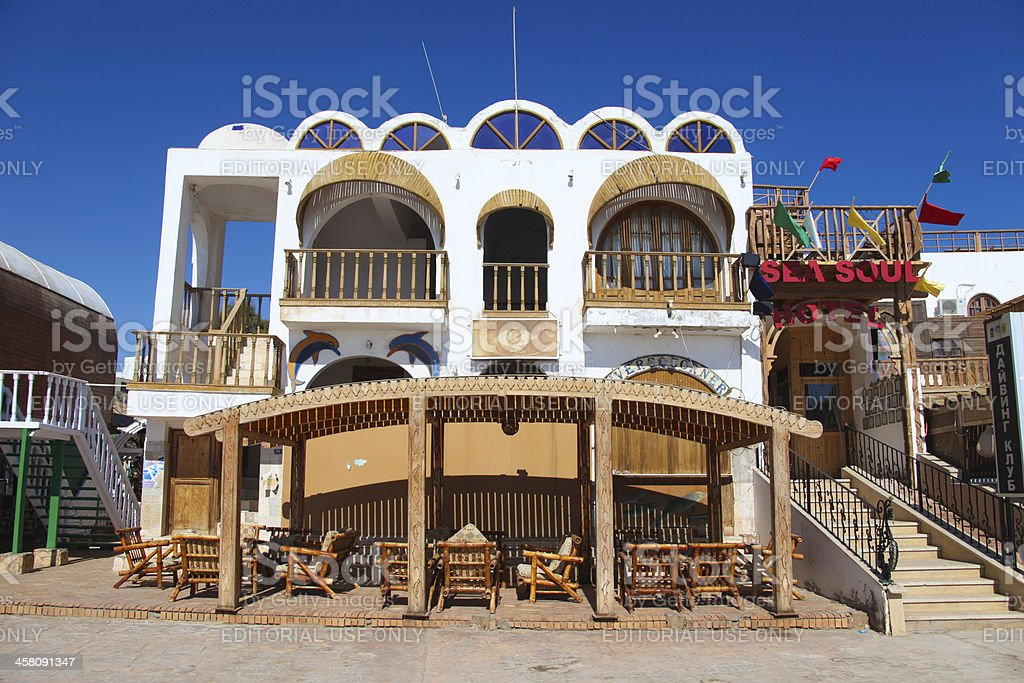 Hotel in Dahab stock photo