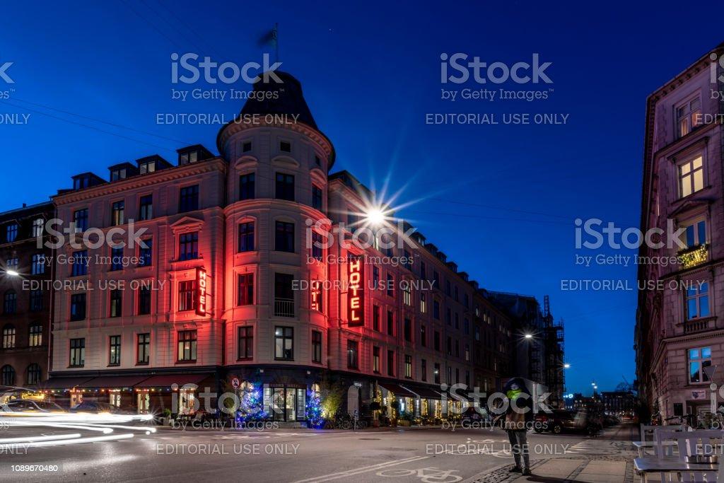 Hotel in fine building in Copenhagen, Denmark stock photo
