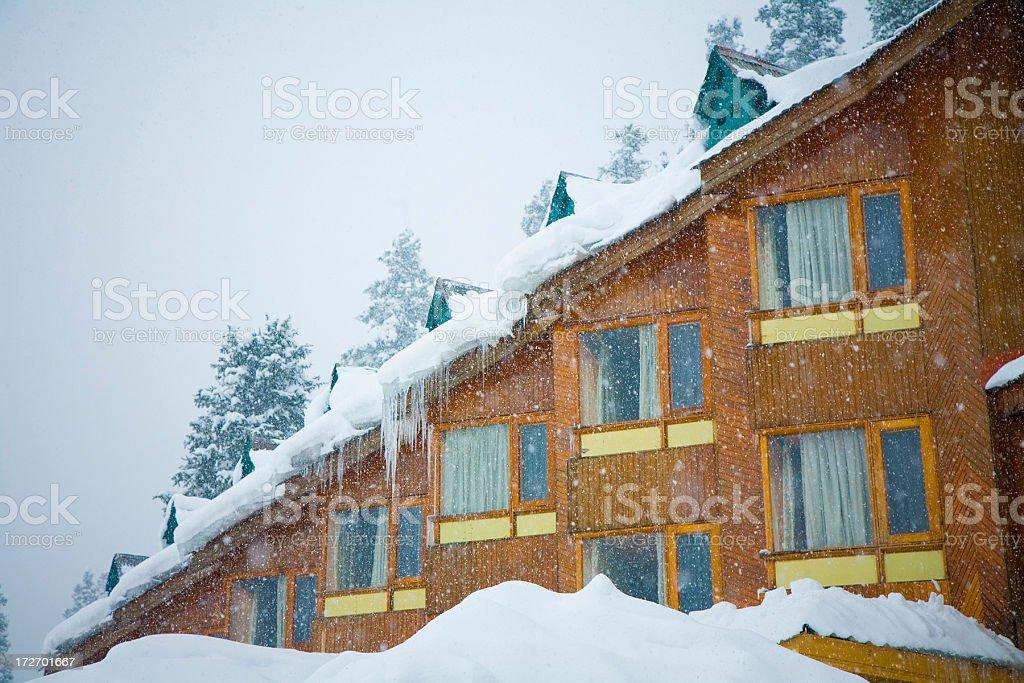 Hotel in ski resort royalty-free stock photo