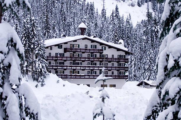 Hotel in snow horizontal stock photo