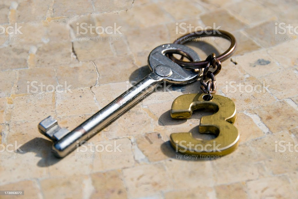 Hotel key with No.3 label stock photo