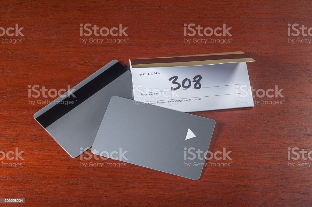 Hotel keycards or cardkeys stock photo
