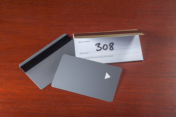 Hotel keycards or cardkeys Hotel keycards or cardkeys for electronic door lock cardkey stock pictures, royalty-free photos & images