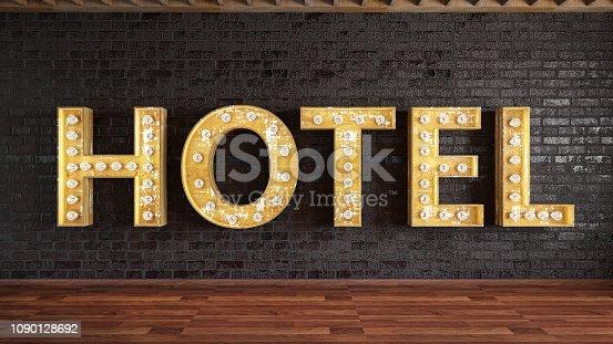 istock Hotel Light Bulb Sign 1090128692