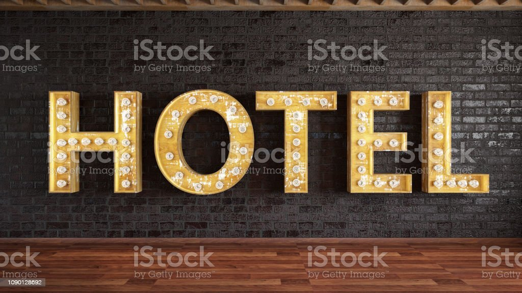 Hotel Light Bulb Sign stock photo