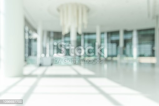 187330622 istock photo Hotel lobby blur background banquet hall interior view of luxurious foyer of empty atrium space and entrance doors and glass wall 1096697700