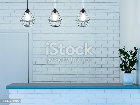908258590 istock photo Hotel lobby interior with reception desk, sofas, marble floor and long bar 1147733556