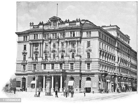 Hotel Metropole in Vienna, Austria. The Austro-Hungarian Empire era (circa 19th century). Vintage halftone photo etching circa late 19th century. The hotel was destroyed in a bombing in the 1940s.