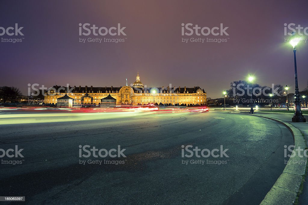 Hotel National Des Invalides at Night in Paris, France stock photo