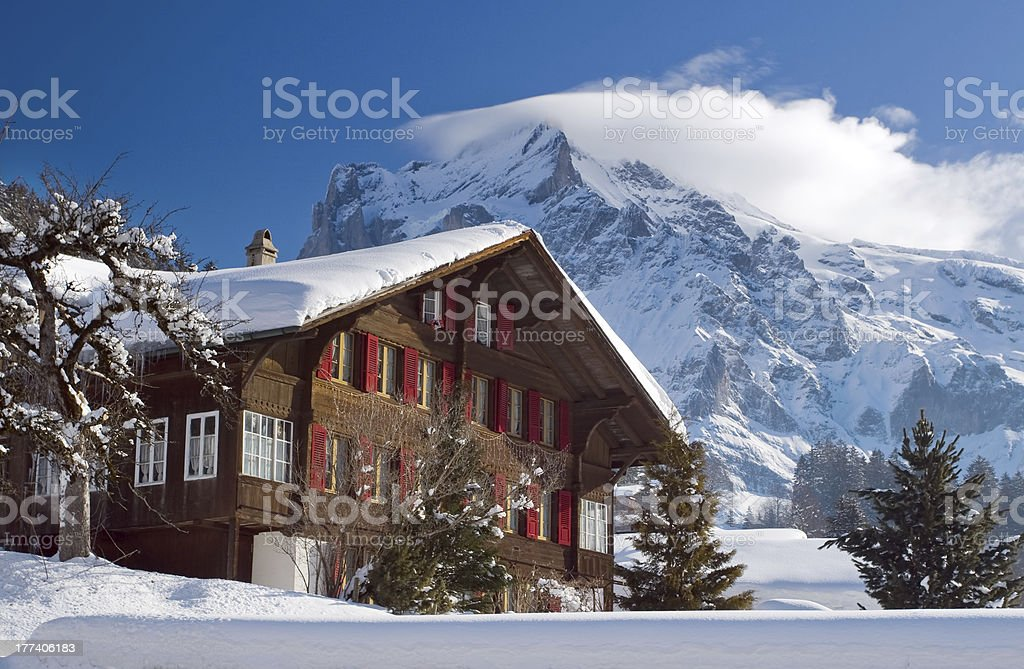 Hotel near the Grindelwald ski area. Swiss alps at winter royalty-free stock photo