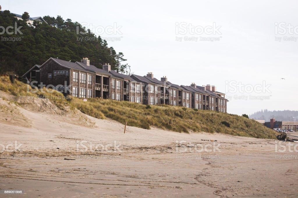 Hotel on Sandy  Beach stock photo