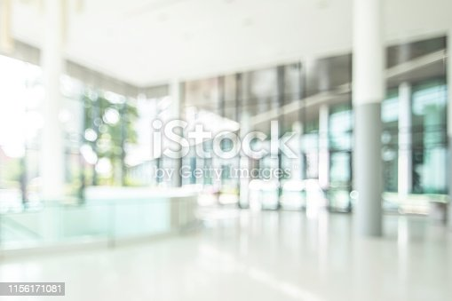 istock Hotel or office lobby blur background interior view toward reception hall, modern luxury white room space with blurry corridor and building glass wall window 1156171081