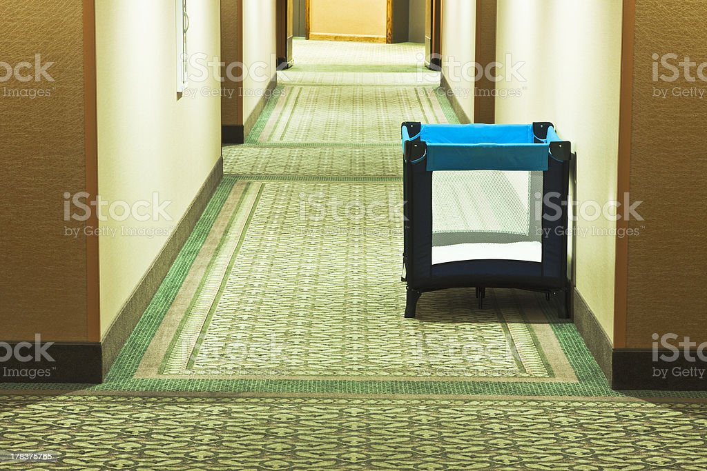 Hotel Playpen Abandoned in Hall stock photo