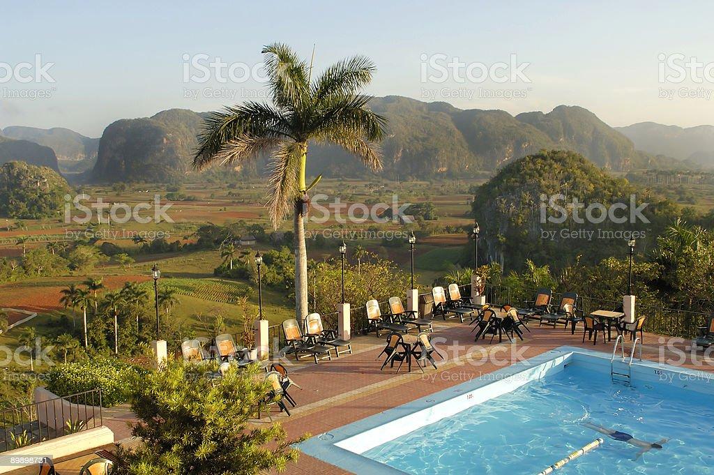 Hotel pool in CUBA royalty-free stock photo