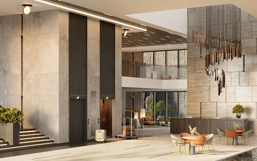 Hotel reception 3d rendering. Luxurious hotel lobby interior.