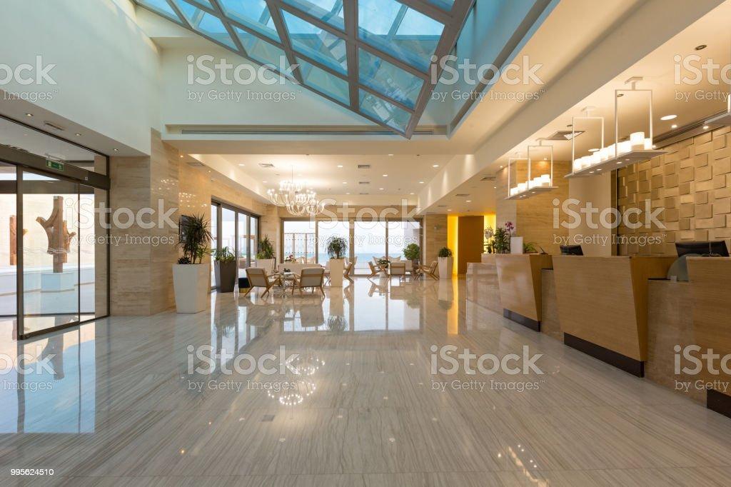 Hotel reception area, desk stock photo