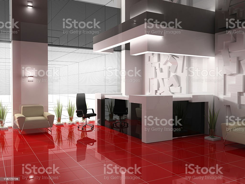 Hotel reception area with modern interior design royalty-free stock photo