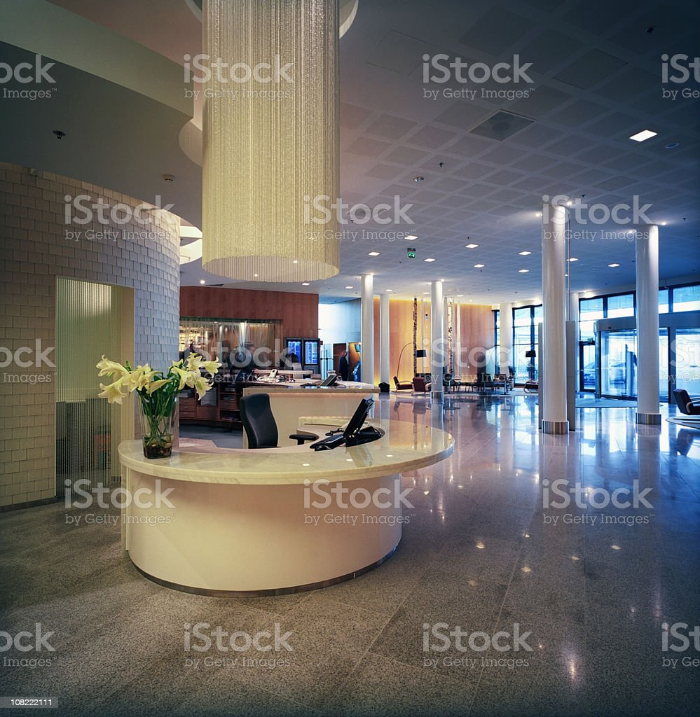 Hotel Reception Lobby Area with Lounge royalty-free stock photo