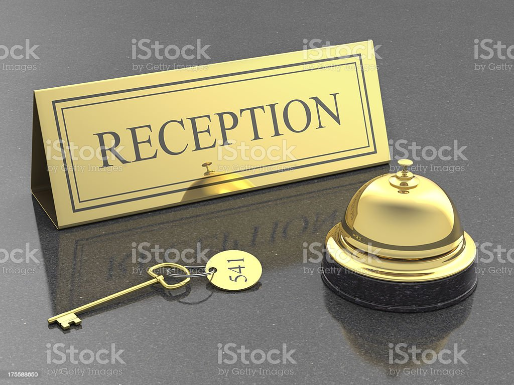 hotel reception, service bell and room key royalty-free stock photo