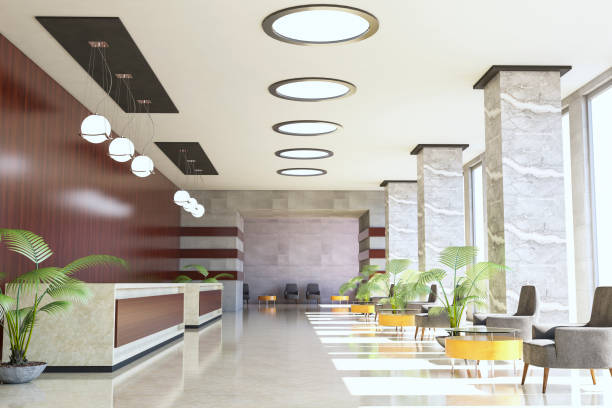 Hotel Reception / Waiting Lounge Hotel Reception / Waiting Lounge ( 3d render ) checkout stock pictures, royalty-free photos & images