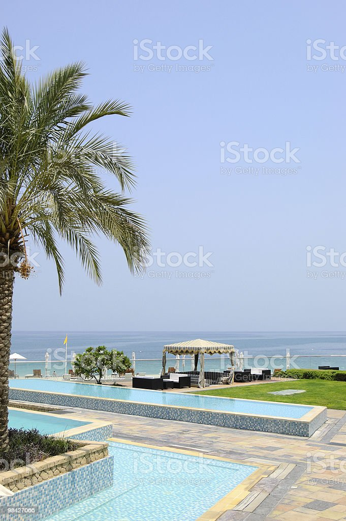 Hotel recreation area, Fujeirah, UAE royalty-free stock photo