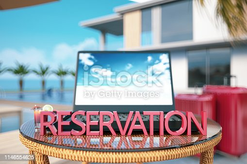 Hotel Reservation Concept with Laptop and Pool. 3D Render