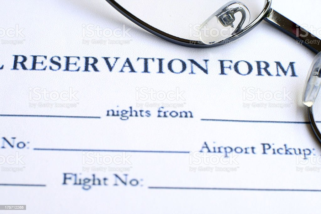 Hotel reservation form stock photo