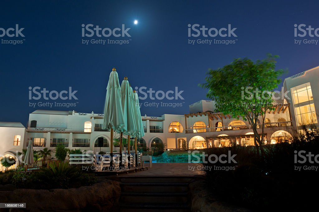 Hotel resort at night royalty-free stock photo