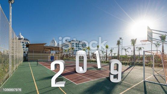 istock Hotel resort basketball court 2019 1056897976