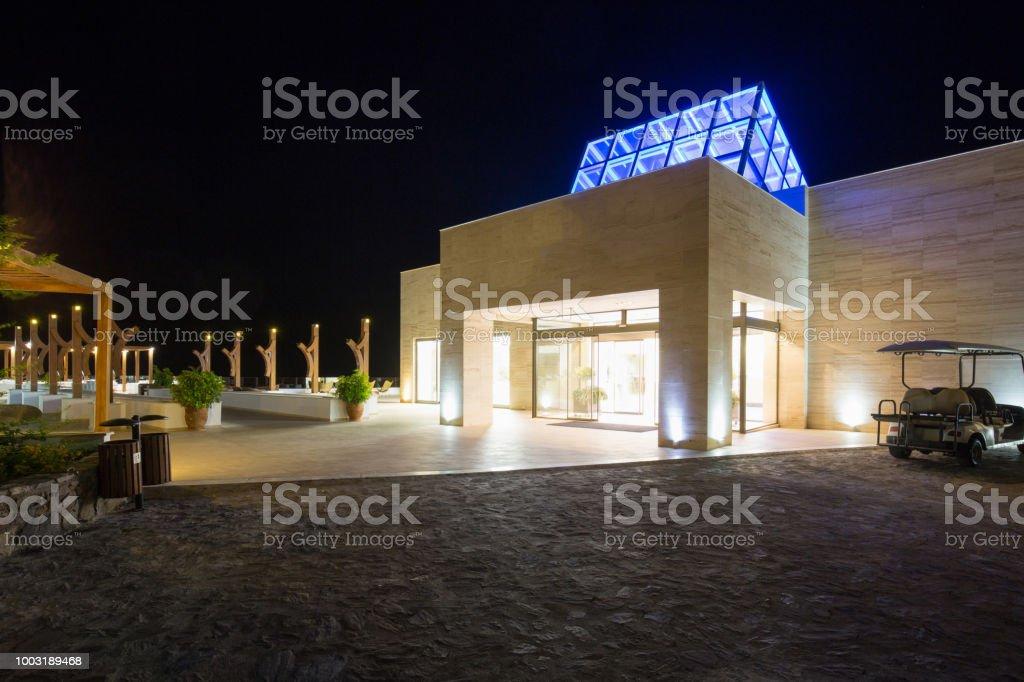 Hotel resort compound, night shoot stock photo