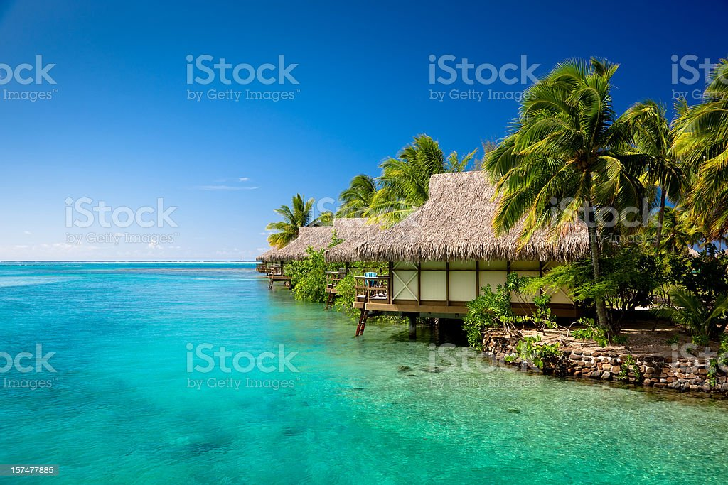 Hotel Resort in Paradise Lagoon royalty-free stock photo