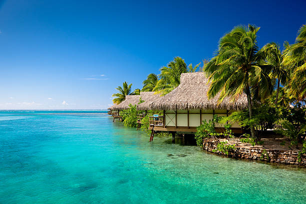 Hotel Resort in Paradise Lagoon  south pacific ocean stock pictures, royalty-free photos & images