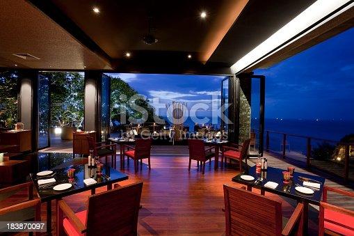 restaurant in paresa hotel phuket thailand at dusk