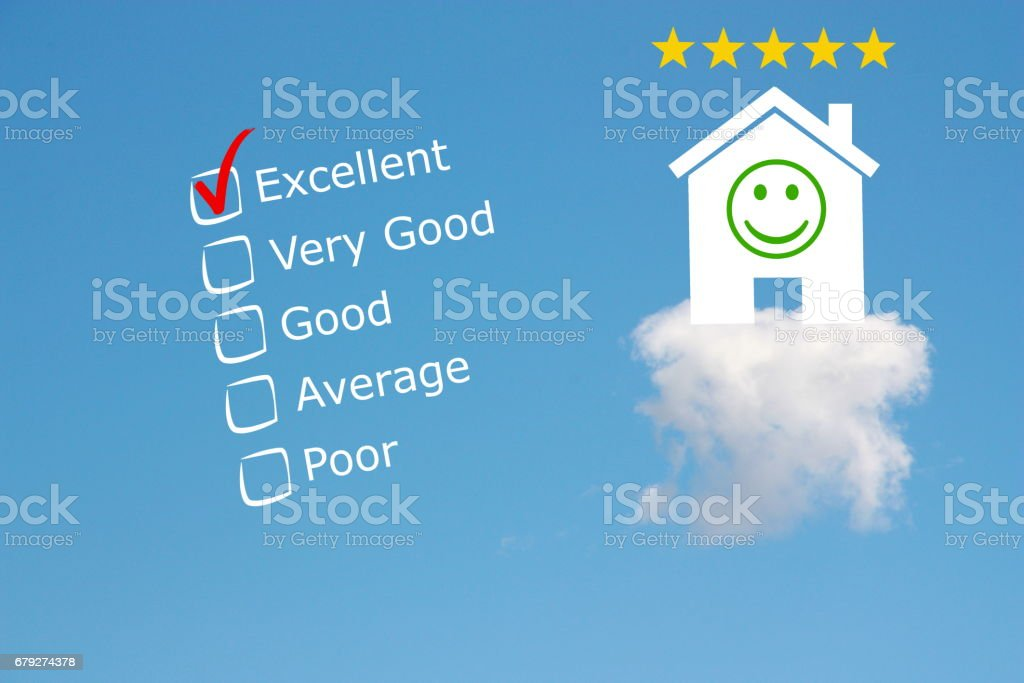 Hotel review classification with stars and emoji stock photo