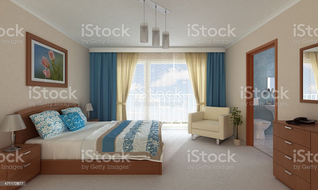 Hotel Room 3D royalty-free stock photo
