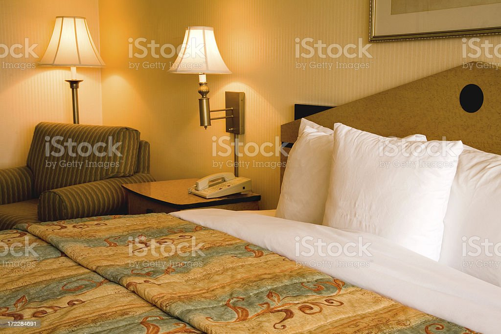 Hotel Room bed. royalty-free stock photo