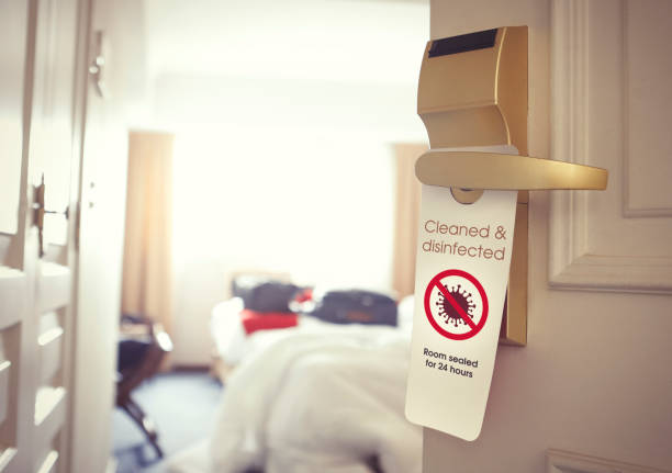 Hotel room cleaned and disinfected stock photo
